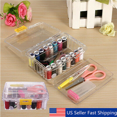 40Pcs Sewing Box Kit Set Threader Needle Hand Tape Scissor Thimble Storage USA