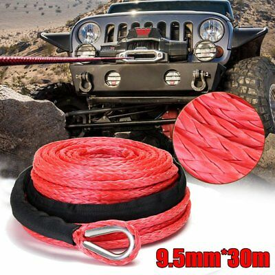 """3/8"""" x 100' 15000lbs Synthetic Winch Line Cable Rope with Sheath ATV UTV Truck"""
