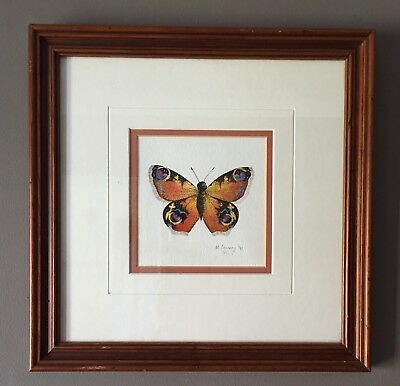 Original Irish Art Watercolour Painting Picture Of Insect Butterfly By M Lavery