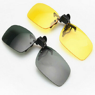b5ecd05d07 Men s Driving Sunglasses Polarized Glasses Day Night Vision Flip-up Clip-on  Lens