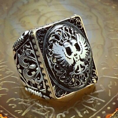 925 Sterling Silver Mens Ring with Double Headed Eagle Turkish Ottoman Jewelry