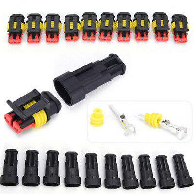 5x 2Pin Car Waterproof Electrical Connector Plug With Wire AWG Marine Black GX