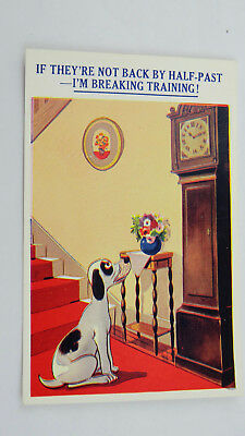 Vintage 50s Comic Postcard Pointer Puppy Dog Training Antique Grandfather Clock