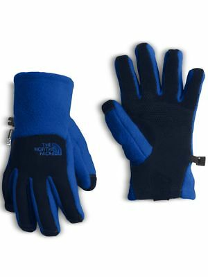 NEW The North Face Boys Denali Etip Gloves Blue NWT SIZE M