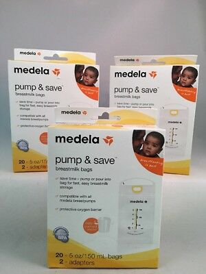 Lot Of 3- Medela Pump and Save Breastmilk Bags 20 Count Each