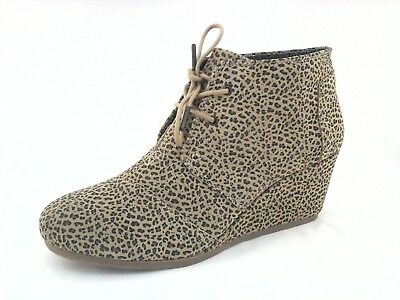 97bf4cfe2b12 TOMS Boots Desert Suede Tan/Black ANIMAL Ankle Wedge Bootie US 12 EU 43.5  $119
