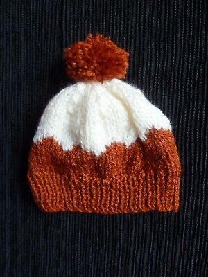 Baby clothes UNISEX BOY GIRL premature/tiny<5lbs/2.3kg rust-brown/cream soft hat