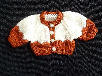 Baby clothes UNISEX BOY premature/tiny<3-4lbs/1.35-1.8kg rust/cream cardigan