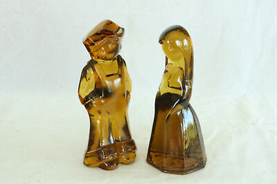 Le Josh & Jenny Doll Set Mosser Glass Vi Hunter Figurine Honey Amber Color