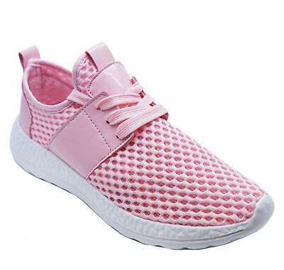 Womens Flat Pink Lace-Up Sports Casual Plimsoll Pumps Trainer Shoes Sizes 3-8