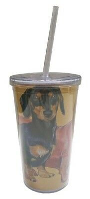 Dachshund Tumbler with Straw, Double Wall, 16 Ounces Acrylic Tumbler, BPA-Free
