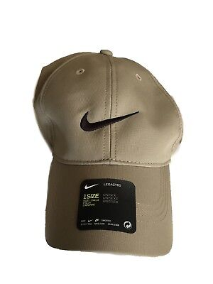 1978e4a2048ec Mens Nike Golf Legacy 91 Tech Adjustable Dri Fit Cap Hat Khaki Black Swoosh  Golf