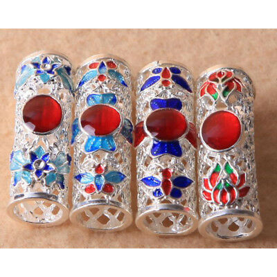 3 Pcs Curved Hollow Charm Tubes with Stone Enamel Jewelry Making Accessories