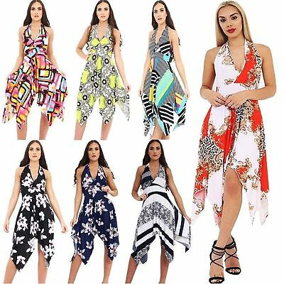Ladies Sleeveless Multi Printed Women Halter Neck Backless Hanky Dress Plus Size