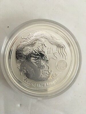 2012 Australia 1 Oz Silver Lunar Series Year Of The Dragon W/ Lion Privy Mark