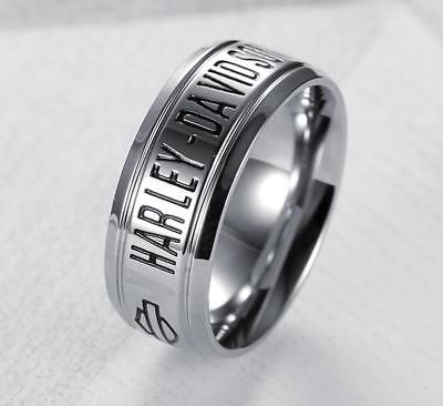 Harley Davidson Ring:  Size 8-14 Stainless Steel  8MM - HD Band - (HDR0001)