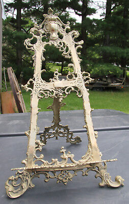 """antique vintage brass colored metal family Bible stand **BEAUTIFUL** 14"""" tall"""