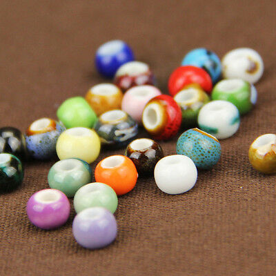 Lots Round Ceramic Porcelain Charm Loose Spacer Big Hole Beads Jewelry Findings