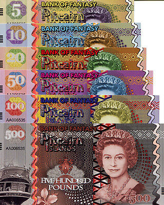 PITCAIRN ISLANDS Set 6 Notes 5-500 Pound Fun-Fantasy Note Private Issue Currency