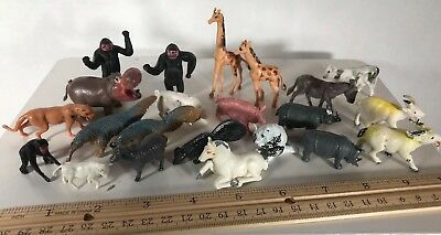 vtg Plastic Animals lot 22 figurines Hong Kong Farm Forest Zoo Wild Anteater! y5