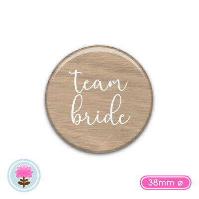 TEAM BRIDE Mint Rose Gold Foil 38mm PIN BADGES for Hen Party Weekend Do Night