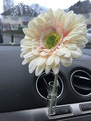 Fiat 500 Car Vent Vase, And 13Cm Cream Gerbera  Flower  Universal Any Car