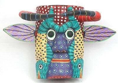 Mexican Wood Hanging Mask Fish Folk Art Hand Made Collectible Black/Red Horns