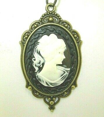 "New Large Lovely Antique-look Bronze-tone CAMEO Pendant 18"" - 20"" Black Necklace"