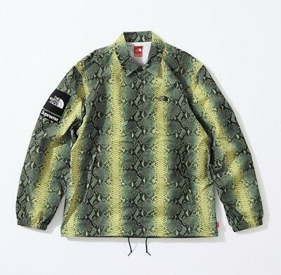 cf189d91a16559 Supreme x The North Face Snakeskin Taped Seam Coaches Jacket Green M-XL  SS18 TNF