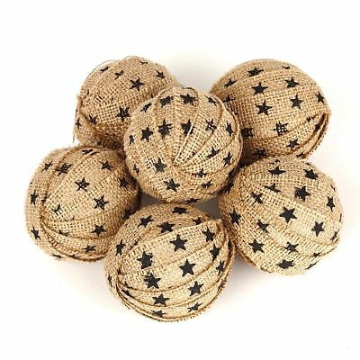 Set/6 Burlap Farmhouse Star Rag Balls: Hand Crafted Country House Collection NEW