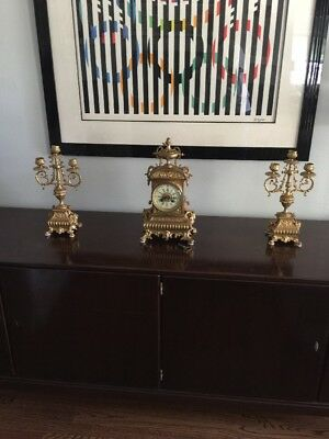 ANTIQUE FRENCH GUILD BRONZE Clock & Garniture by S. MARTI & COMPANY