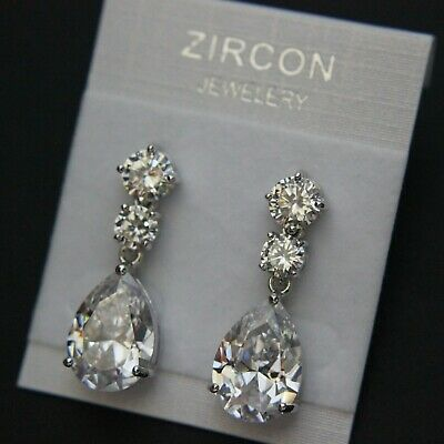 Three Stones CZ Cubic Zirconia Teardrop Drop Wedding Brides Earring UK New 1.15""
