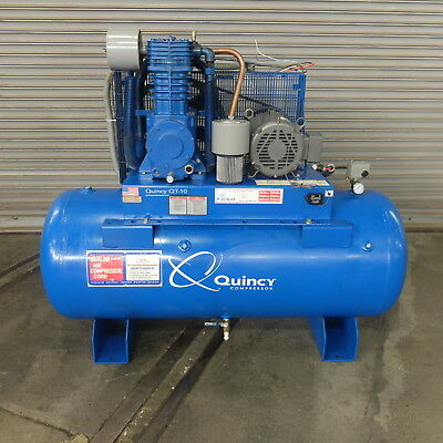 10 HP Quincy Reciprocating  Air Compressor, Model QT 10, 120 gallon Tank