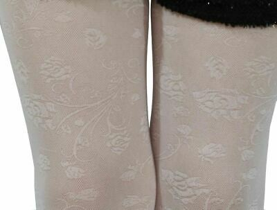 Girls White Tights 30 Denier Flower Roses Bridesmaid Communion Age 3-10