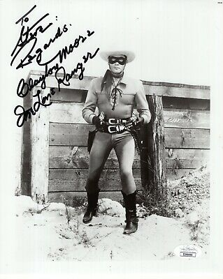 CLAYTON MOORE HAND SIGNED 8x10 PHOTO       THE LONE RANGER     RARE     TO STEVE