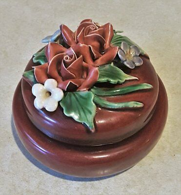 Vintage 1950's *AUSTRALIAN POTTERY* Dresser Trinket Bowl/Keeper Applied Flowers