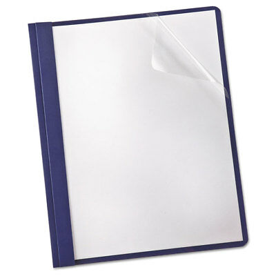 Linen Finish Clear Front Report Cover, 3 Fasteners, Letter, Navy, 25/box