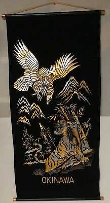 Vintage Japanese Scroll Wall Hanging Tiger Eagle  Gold/Silver on Black  EUC