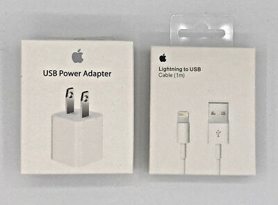 OEM 5W Wall Charger Cube & Lightning USB Cable for Apple iPhone 5 6 s 7 8 Plus X