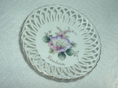 VINTAGE Miniature Porcelain Plate, Hand Painted & Signed, Romania, 3 1/2""