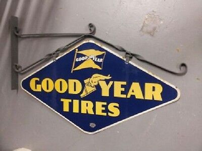 Original 1941 Goodyear Porcelain Double Sided Sign w / Bracket  WILL SHIP!
