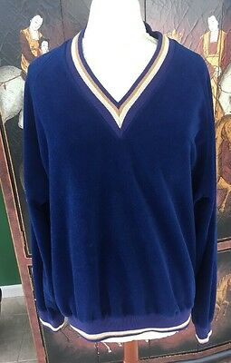 True Vintage 1970s Lee Velvet Polyester Men's Deep Blue Pullover Brady Bunch EUC