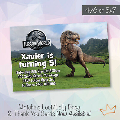 Dinosaur Birthday Party Invitations Jurassic World Park Invites
