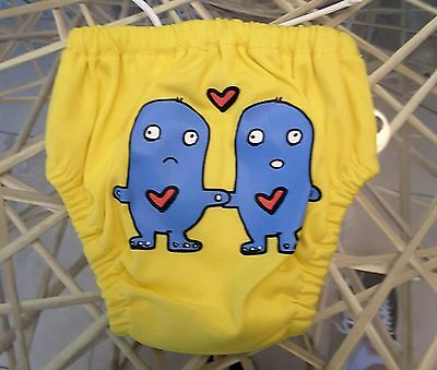 Charlie Banana / 2 in 1 Swim Diaper / Small 11 - 18lbs / Yellow Lovey Dovey