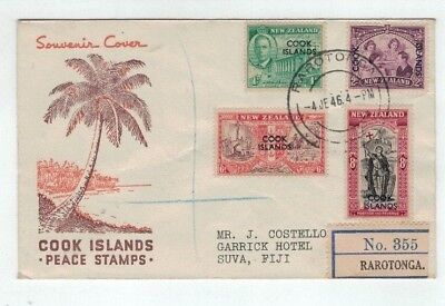 1946 New Zealand Peace O/p Cook Islands Pre-Decimal  First Day Cover