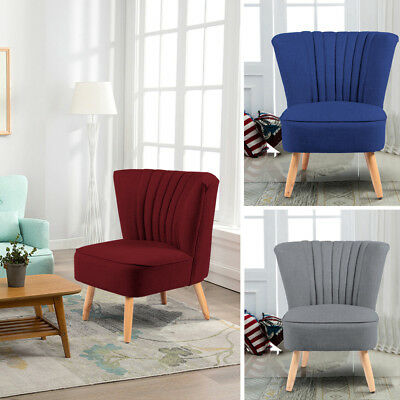 Wood Linen Fabric Retro Occasional Hallway Bedroom Living Room Accent Chair Seat