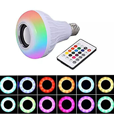 LED Wireless Bluetooth Bulb Light Speaker RGB 12W Smart Music Play Lamp+Remote U
