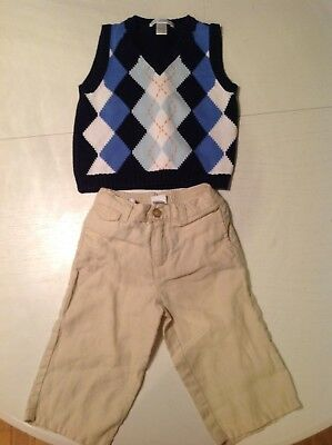 Janie and Jack Boys Size 6-12 Months Pants and Sweater Vest