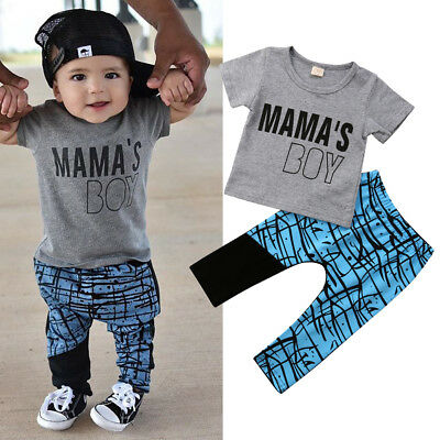 US Stock Toddler Kids Baby Boy T-shirt Tops Pants 2Pcs Outfits Set Clothes 1-5T