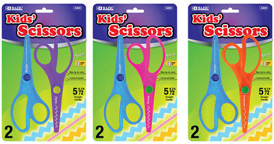 Bazic Safety Kids Scissors Blunt Tip 14cm Assorted Colours - 2 Pack